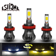 LSlight Car LED Fog Headlight Lamp h27 h3 h8 h11 Auto Antifog Lights LED Bulb 12v 55w 6000k 3000K cob yellow white light CARRO car styling for honda cr z 2013 2014 2015 9 pieces leds chips led fog light lamp h11 h8 12v 55w halogen fog lights