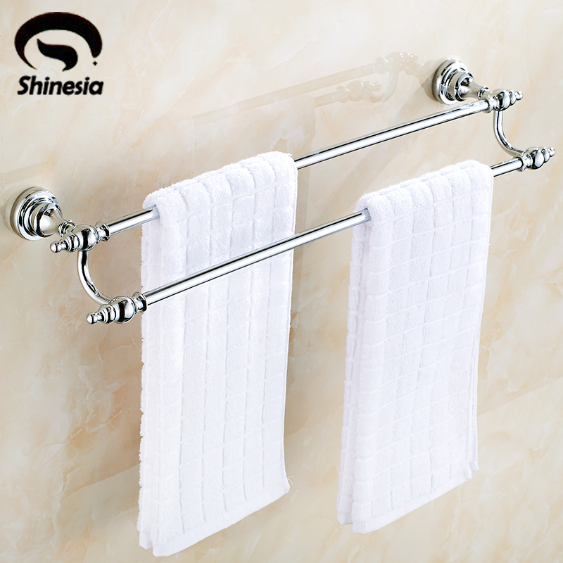 Chrome Polished Bathroom Towel Rack Double Towel Bars Towel Holder Bathroom Accessories Wall Mount 2015 copper golden chrome bathroom accessories suite bathroom double towel bar soap bars brush holder discbathroom accessories