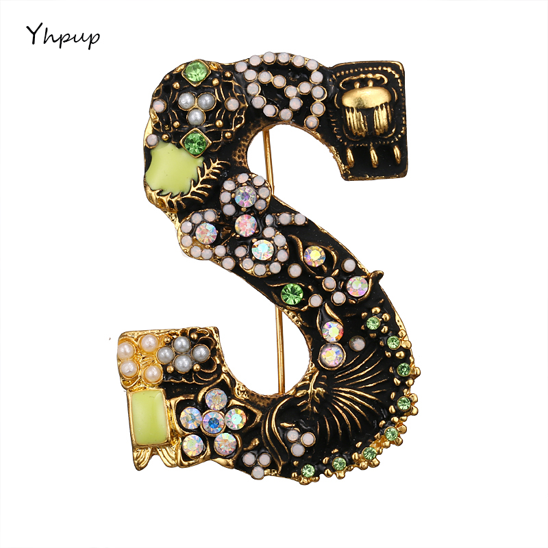Yhpup Luxury Brand Exquisite Cute Letter S Flowers Brooch For Women Fashion Enam