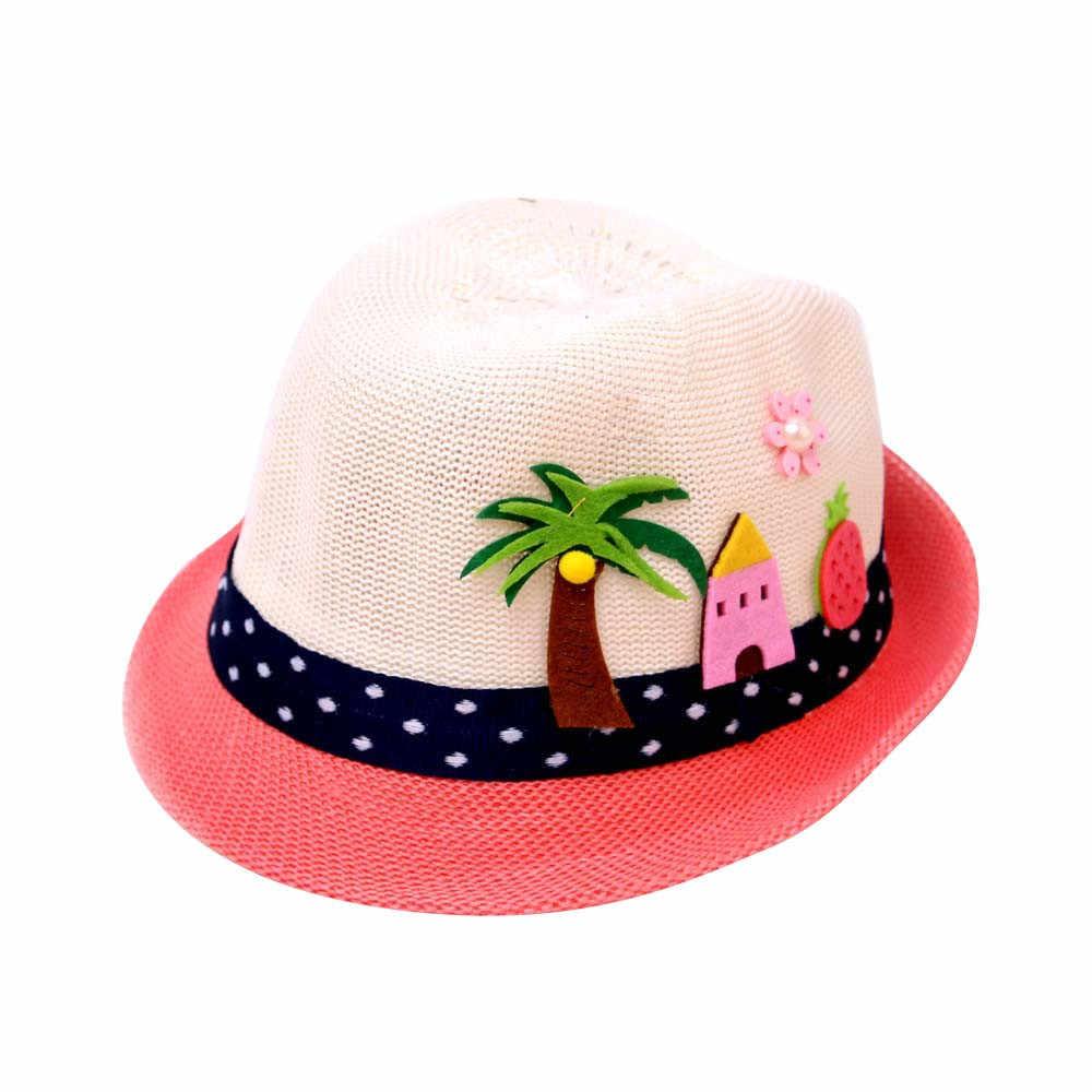 Summer Kids Floral Straw Hats Fedora Hat Children Visor Beach Sun Baby Girls Sunhat Wide Brim Floppy Panama For Girl
