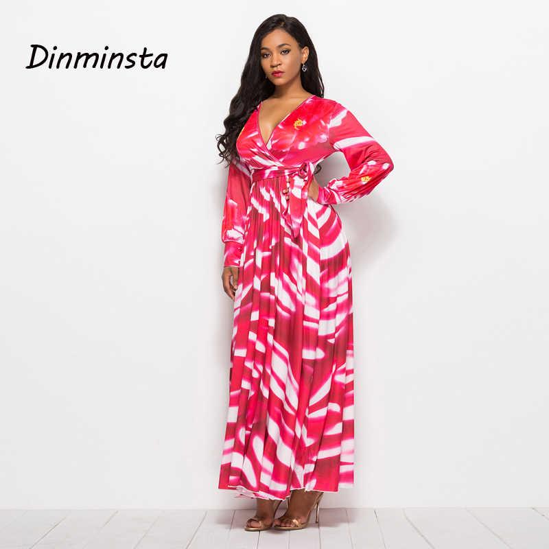 6064290d2c Dinminsta Long Sleeve Maxi Dress Floral Print V-Neck Flare Retro Full Party  Prom Frocks Design Female Elegant High Waist Dresses