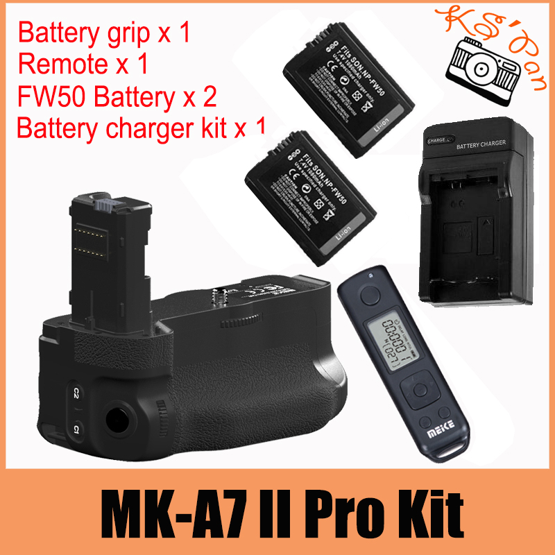 Meike MK-A7II Pro Wireless Ctrl Battery Grip for Sony A7 II A7R II A7S II as VG-C2EM 2 x NP-FW50 Batteries Charger Kit meike mk ar7 2 4g wireless remote system vertical battery grip holder with 2pcs np fw50 battery for sony a7 a7r a7s as vg c1em