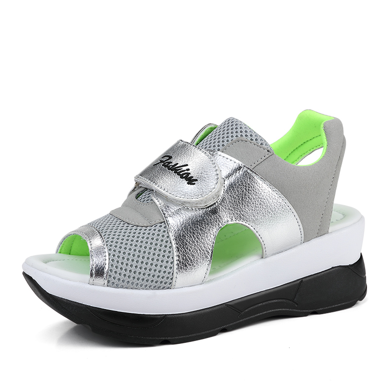 YeddaMavis Mesh Sandals Womens Shoes 2019 Summer New Korean Silver Thick-bottomed Fish Mouth Wedges for Women Woman