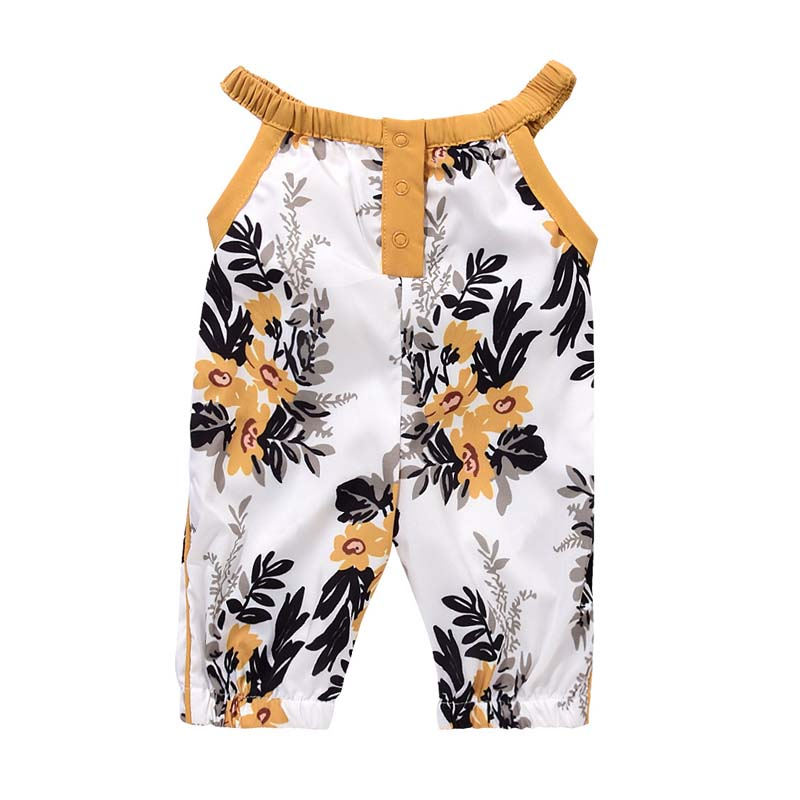 Summer Baby Girls Strap Rompers Floral Printed Kids Jumpsuits Piece Pants Clothing M09