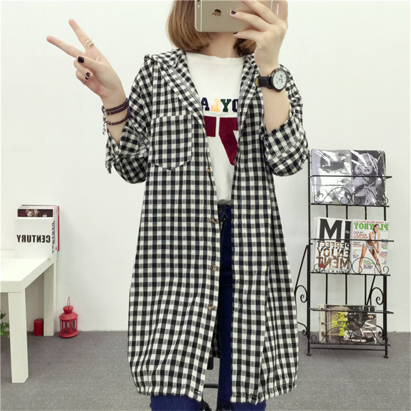 Brand Yan Qing Huan 2018 Spring Long Paragraph Large Size Plaid Shirt Fashion New Women's Casual Loose Long-sleeved Blouse Shirt 2