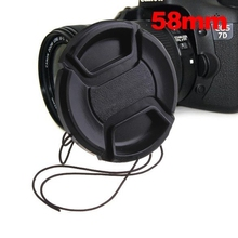 POPLAR Black 58mm Entrance Lens Cap Hood Cowl Snap-on Lens Cap For Canon Digital camera With Wire