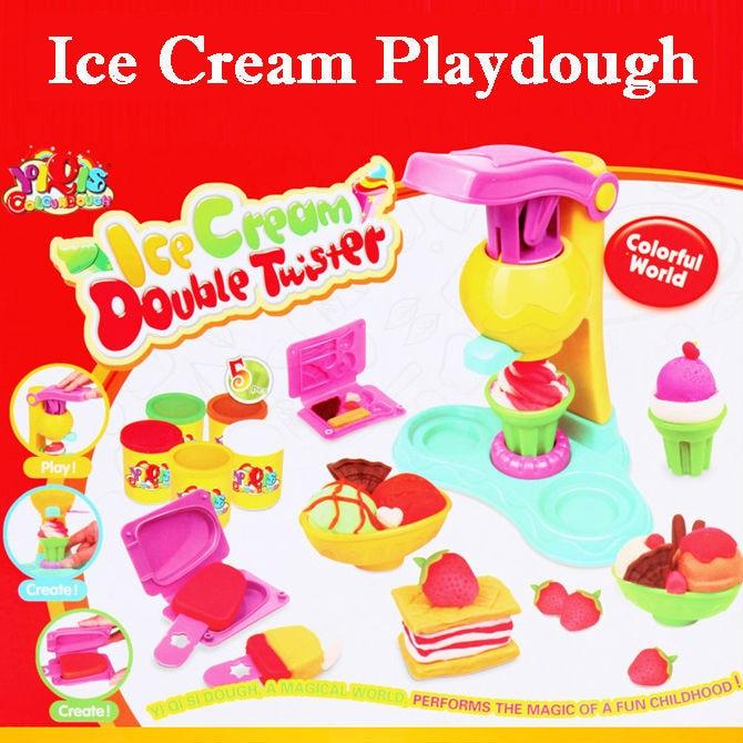 Children Toys Play Dough Model Tool Colorful Creative Ice Cream Set Kid Brinquedos Safe Environmental Soft Polymer Play Juguetes blue like play dough