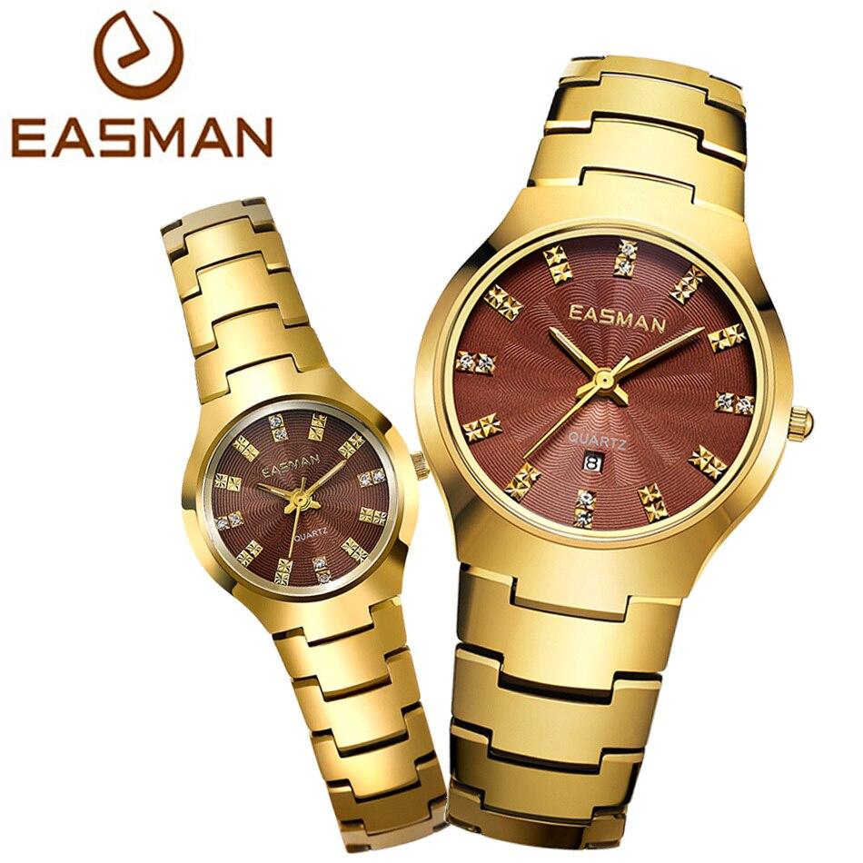 EASMAN Watch Brand Lovers Tungsten Steel Gold Watch Waterproof Luxury Sapphire Glass Quartz Wristwatches Watches For