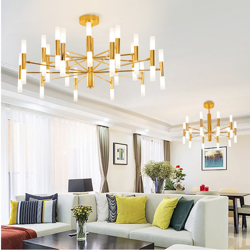 Modern Led Chandeliers Luxury Hotel Hall Restaurant Chandelier Black Gold Iron G4 Ceiling Lamp Luminarias Lighting