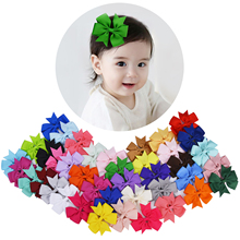 Children 40 pcs Ribbon Bow Hair Clip Pure Color Hairpin Hair Accessories For Baby Girls Kids Teens Toddlers for Party Christmas
