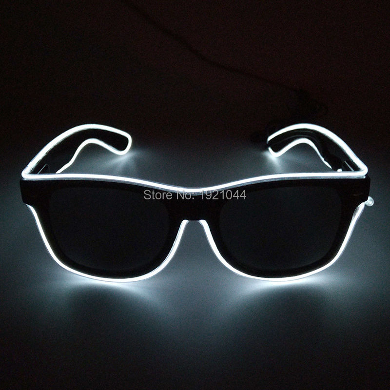 Colorful Glowing Sunglasses with Dark lens Lighting Color White Sound activated Inverter Glowing products for Party Supplies