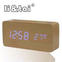 Wood Bamboo LED Alarm Clock Despertador Modern color Temperature sound cotrol USB/AAA Electronic Desktop Digital Table