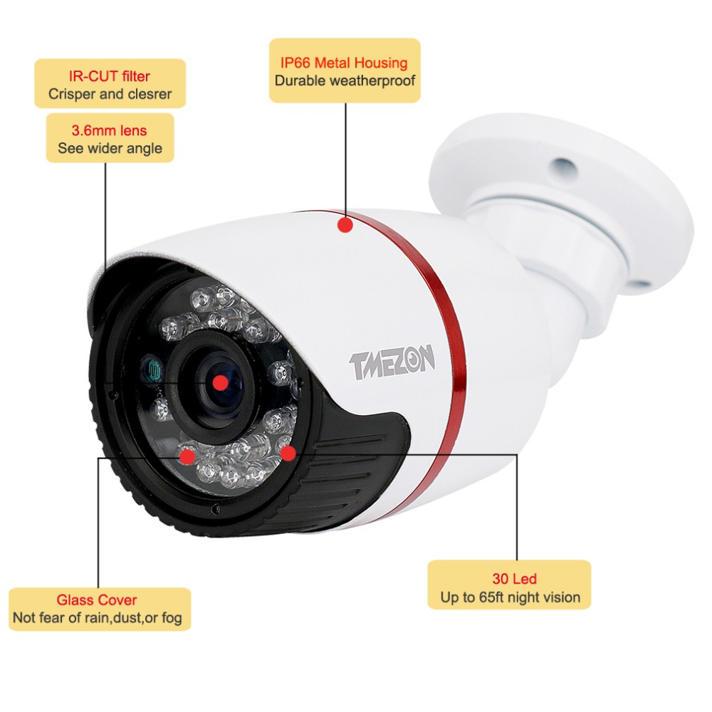 Tmezon AHD 2MP 1080P CCTV Bullet Metal Home Security Surveillance Camera Outdoor Waterproof IR CUT Night Vision