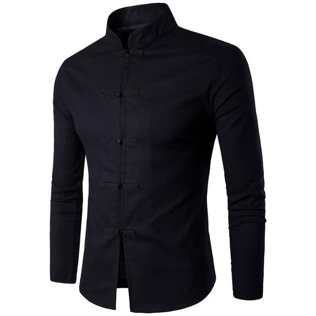 Estilo Tradição Chinesa dos homens Camisa de Algodão 2018 Novo Macho  Chegada Gola Mandarim Cor Sólida 82d0aaa2cd93e