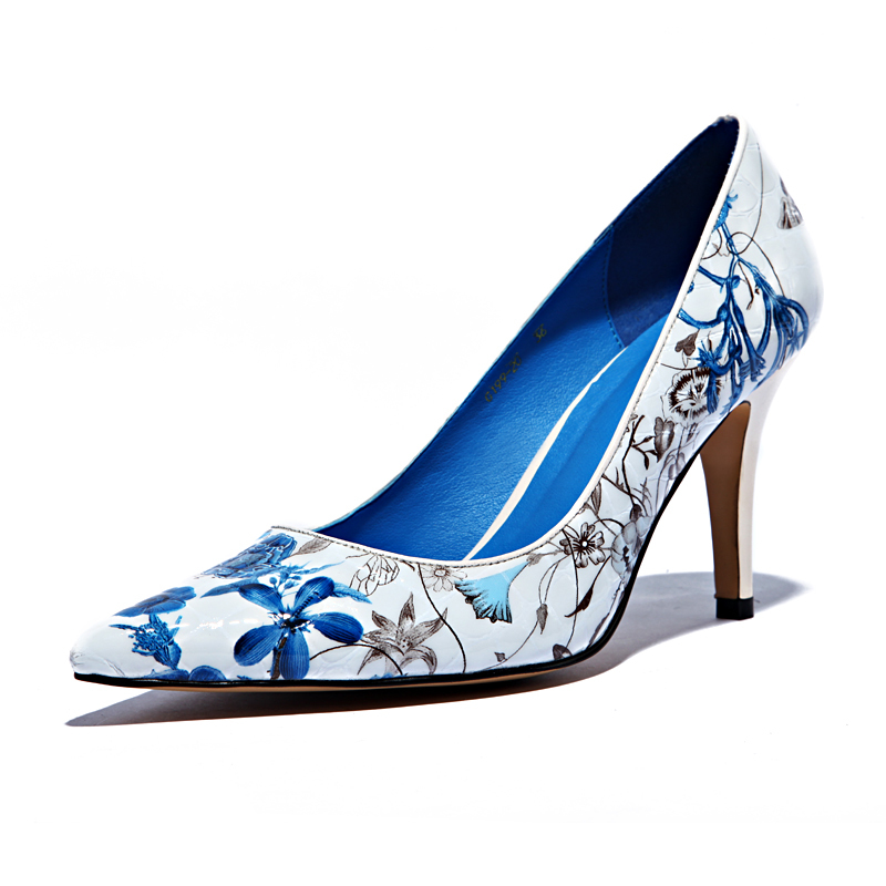 1d209f1e70dd Blue And White Porcelain Print Leather Lady Pumps Ancient China Style  Pionted Toe Stiletto Royal Blue Insole Stable Big Bottom-in Women s Pumps  from Shoes ...