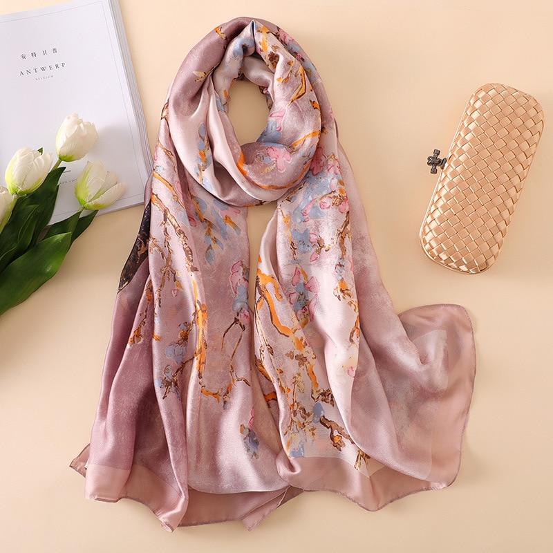 2020 Luxury Brand Van Gogh Oil Painting Silk Shawl Scarf Women Apricot Floral Silk Turban Head