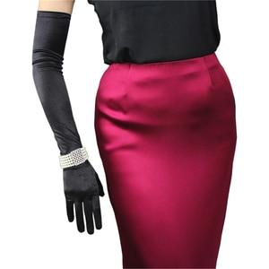 Image 5 - Silk Satin Gloves 58cm Elasticity Mercerized Satin Black White Extra Long Style Over Elbow Female Sunscreen Bride Married WSG05