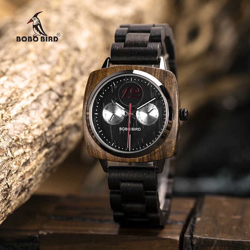 Reloj de madera para hombre, reloj de pulsera de cuarzo militar, reloj de pulsera de bambú, L-S06