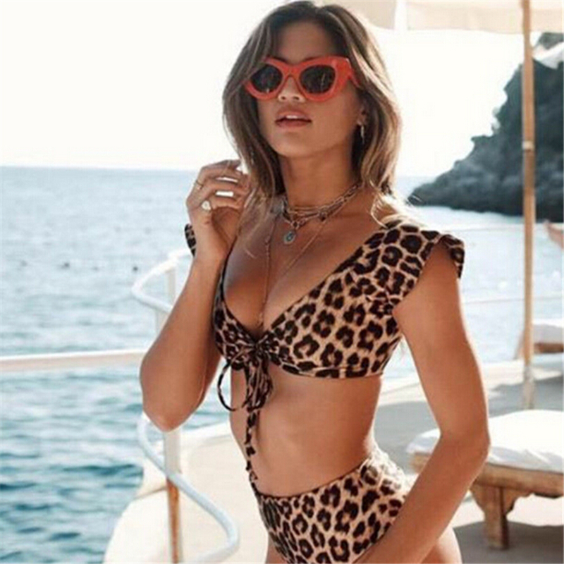 2018 Women High Waist Bikini Set Leopard Print Push Up Swimwear Lady V Neck Swimsuit Bathing Suit Swimwear maillot de bain Femme sexy swimwear push up bikini floral printed swimsuit high waist bikinis set maillot de bain bathing suit