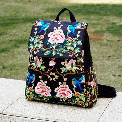 Fashion Embroidery Travel Women Backpack!Nice Floral Embroidered Lady Backrack National All-match Bohemian Canvas Cover Backruck