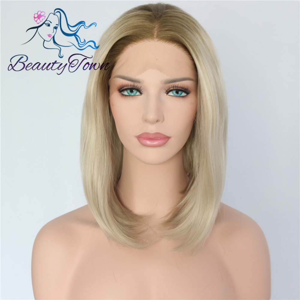 BeautyTown Bobo Heat Resistant Hair Brown Ombre Blonde Hand Tied Cosplay Perruque Synthetic Lace Front Party Wig For Present