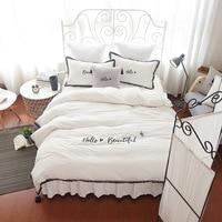 Solid color series 4pcs/set bed skirt white gray pink blue high grade embroidery letter bedding duvet cover pillowcase bedlinen