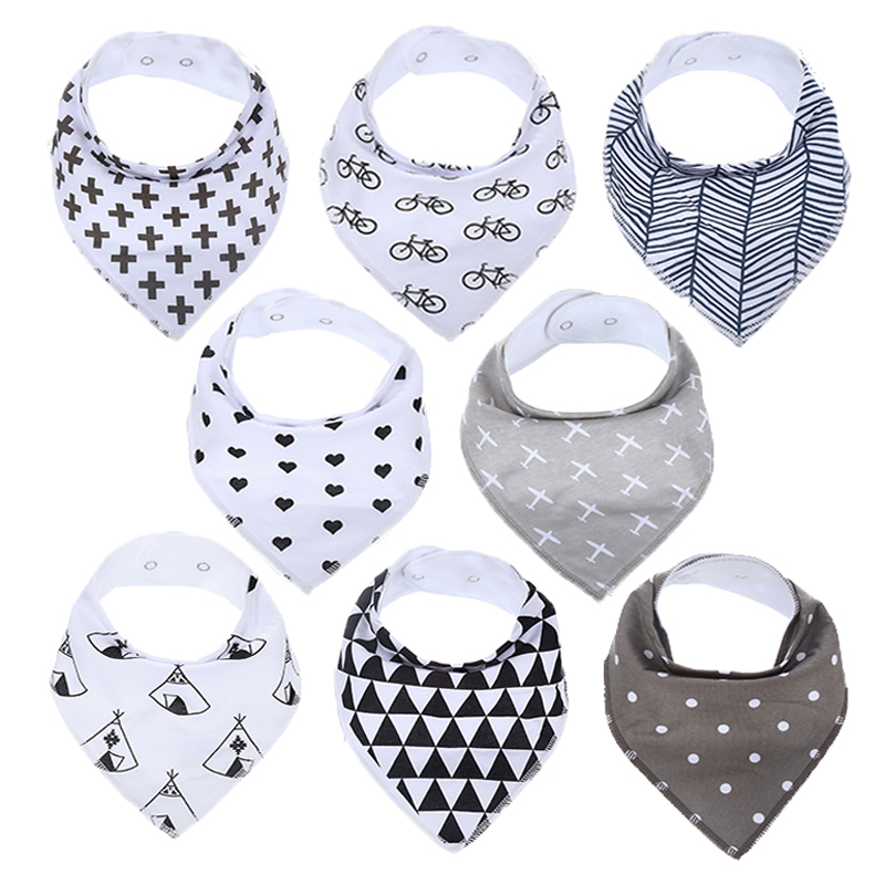 Baby Bandana Drool Bibs for Boy and Girl 100% Organic Cotton Set of 8 Unisex Bibs Soft and Super Absorbent for Drooling and Teething
