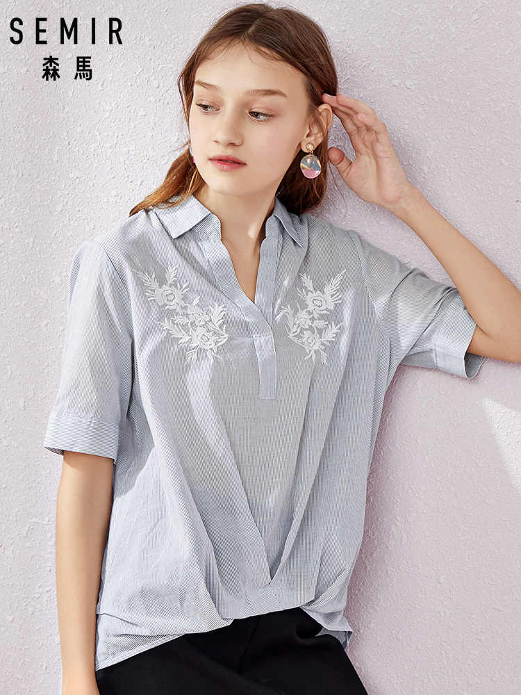 SEMIR Short sleeve blouse women 100% cotton soft shirt 2019 summer new V-neck striped sexy shirt for beauty woman