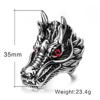 Fashion Dragon Head Rings For Men Punk Rock Style Well Mens Stainless Steel Biker Rings Stainless