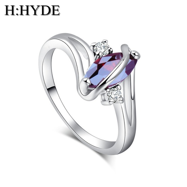 H:HYDE Classic design 1pc Silver Color CZ Cubic Zirconia Stone woman jewelry wed