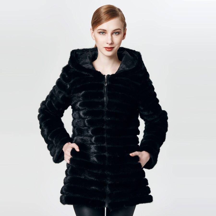 HUANHOU REINE réel de fourrure de vison manteau avec capuche, vison manteau de fourrure pour les femmes de chaud andfashion mince.