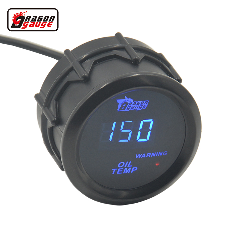 Dragon gauge 52mm Sunglassesl blue Light Digital Auto Car Oil temperature gauge Meter Warninr 100C Modified Free shipping 2014 new 1pcs auto car oil pressure led gauge 2 52mm free shipping a