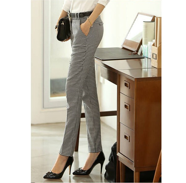 Image 5 - 2019 Spring Summer Autumn Women Slim Casual Pants Work Wear Career Houndstooth Pants Straight Pencil Pants Women trousers female-in Pants & Capris from Women's Clothing