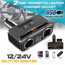 DC 12V Car Cigarette Lighter Adapter 2 Way Double Plug Socket Charger Splitter Ighter Power Adapter