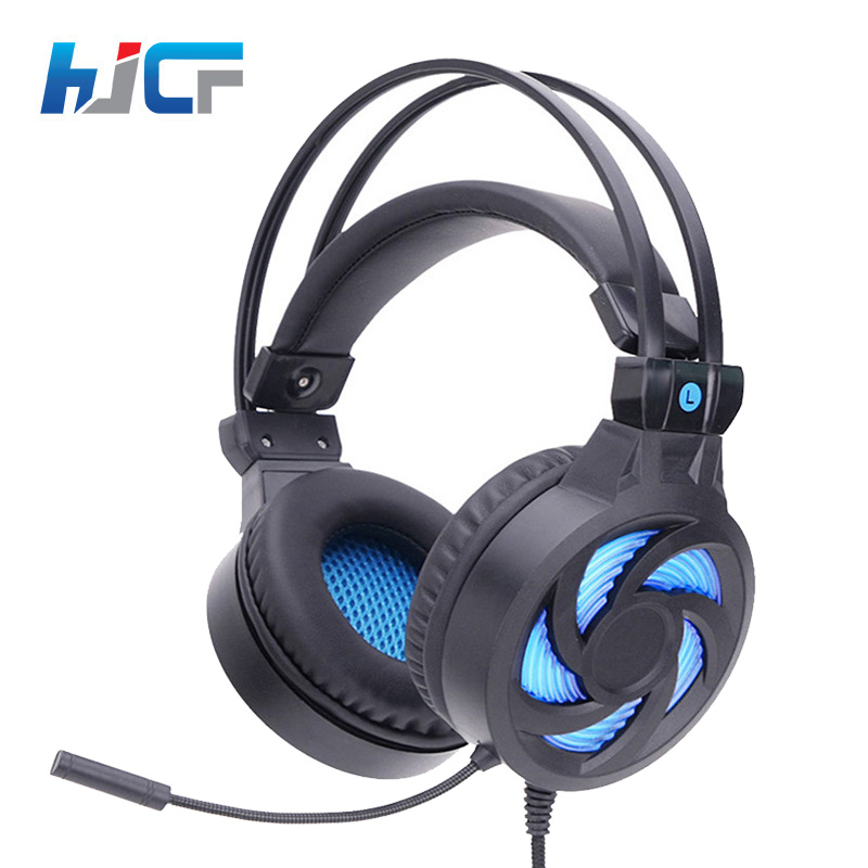 Quality HJCF Stereo Gaming Headphones Deep Bass Game Earphone Headset With Mic LED Light Support Vibration For PC Gamer SY855 gaming headphone headphones headset deep bass stereo with mic adjustable 3 5mm wired led for computer laptop gamer earphone