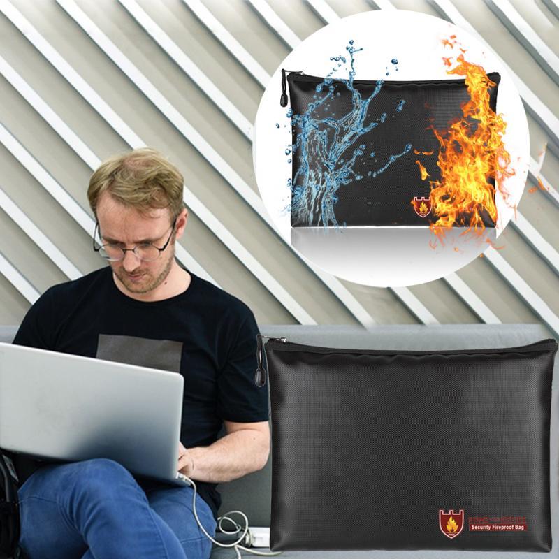 Security Fireproof Briefcase Valuables Bag Zipper Closure Document Bag Waterproof Envelope Pouch Silicone Fiberglass Cloth #17