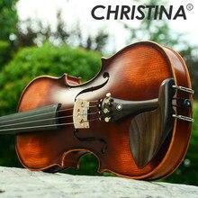 9e3e8042e جديد كريستينا الكمان اليدوية V02 العتيقة القيقب الكمان 3/4 آلة موسيقية مع  كمان حالة