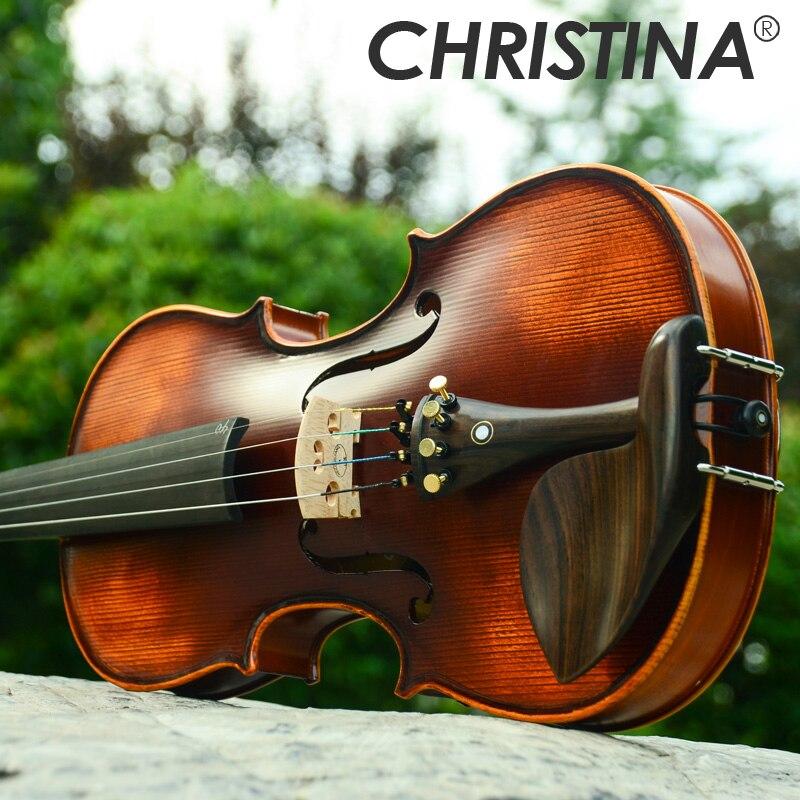 Nova christina violino artesanal v02 antigo bordo violino 3/4 instrumento musical com violino caso arco e rosin