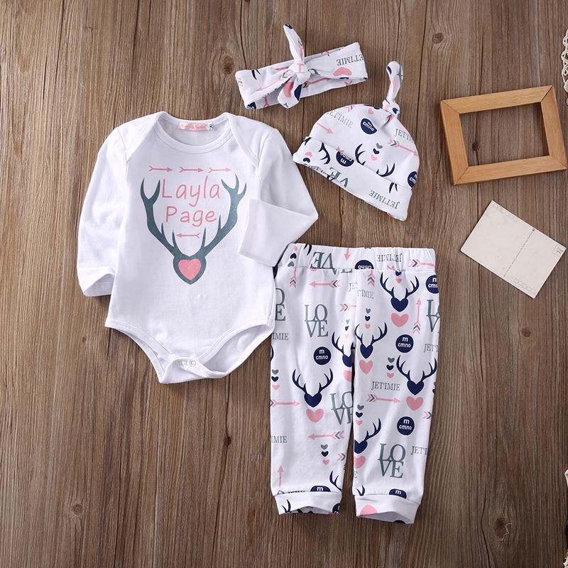 Christams Newborn Toddler Baby Clothing Set Girls Deer Tops +Long Pants Hat Headbands 4Pcs Outfits Girls Xmas