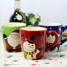 Hand-painted ceramic mug cup coffee cup cartoon lovers cup Christmas gifts milk tea cup