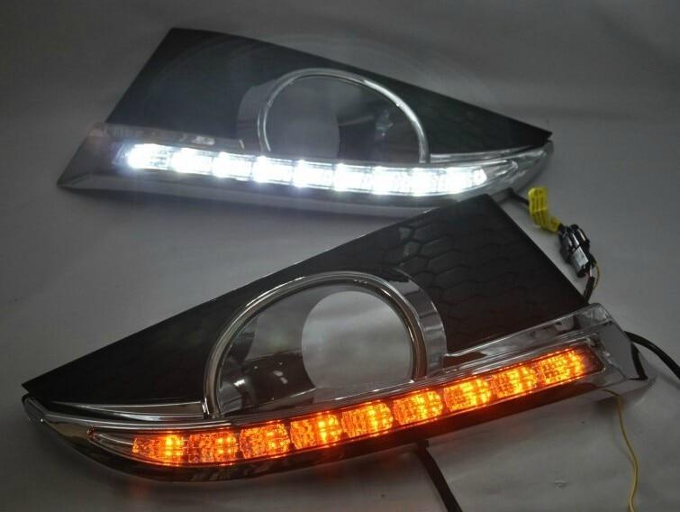 бесплатная доставка, для 2011-12 Шевроле Каптива светодиодные DRL фары дневного света перед туман лампа с желтый мерцания сигнала поворота