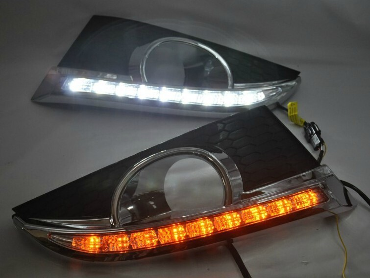 free shipping, for 2011-12 Chevy Captiva LED DRL daytime running light front fog lamp with yellow flicker turn signal