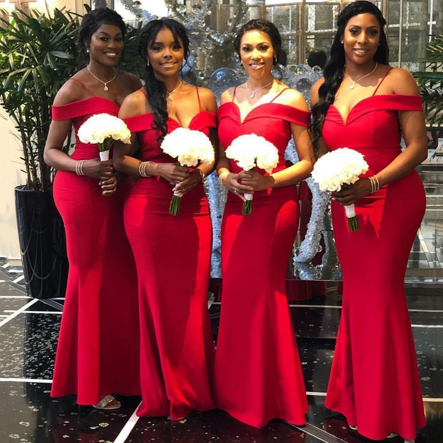 African Off The Shoulder Satin Mermaid Long Plus Size Bridesmaid Dresses Ruched Floor Length Wedding Guest Maid Of Honor Dresses