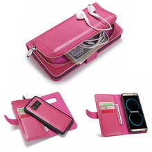 Detachable Closure Flip Leather Cover for Samsung Galaxy Note 9 8 Case Multifunction Zipper Wallet S9 S8 Plus