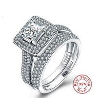 Size5 10 Luxury Jewelry Pure 100 925 Sterling Silver Princess Cut White 5A CZ Zirconia Party