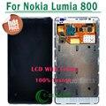 1/pcs para nokia lumia 800 lcd display de pantalla táctil digitalizador asamblea con marco de reemplazo envío gratis