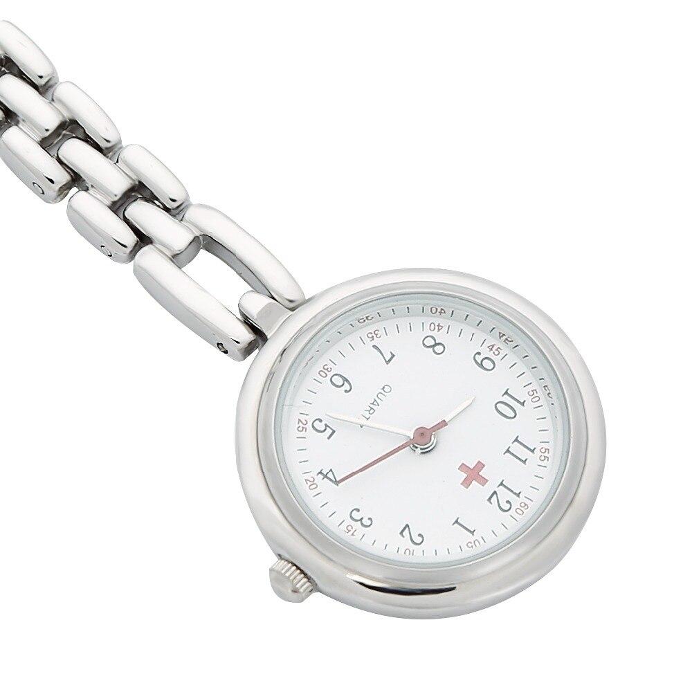 US $9.99  Verpleegkundigen Revers Horloge Clip on Smiley Gezicht Wit Hanger Pocket Quartz Rode Kruis Broche Verpleegkundigen Horloge Opknoping