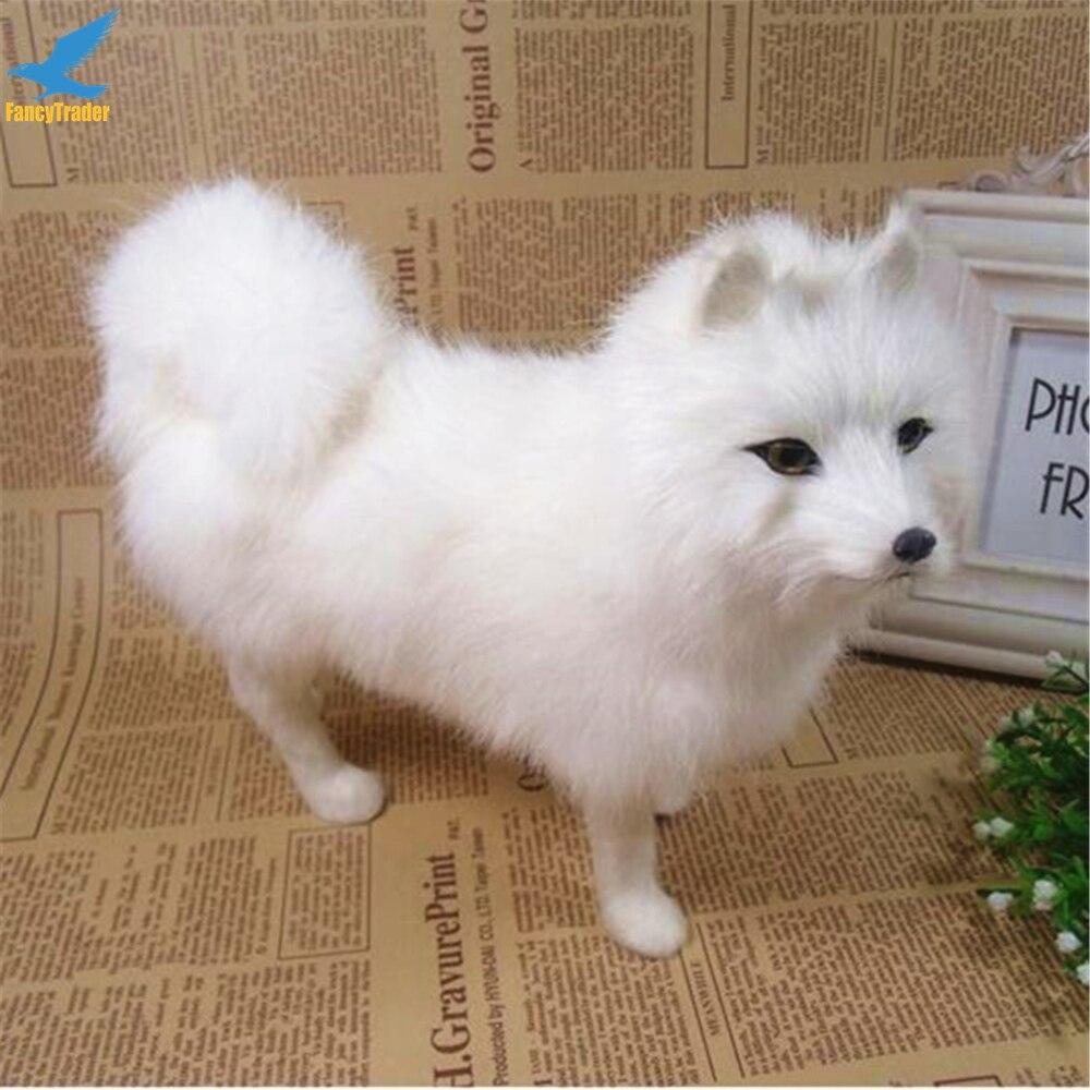 Fancytrader Mini Simulation Plush Samoyed Dog Toy Lifelike Animals Cute White Dog Doll Birthday Gift Teaching Props