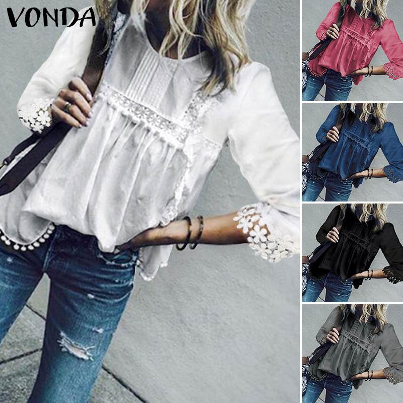 VONDA Womens Tops And Blouses 2019 Summer Hollow Out Blouse Bohemian Tops Casual 3/4 Sleeve Blusas Solid Shirt Plus Size Tunic