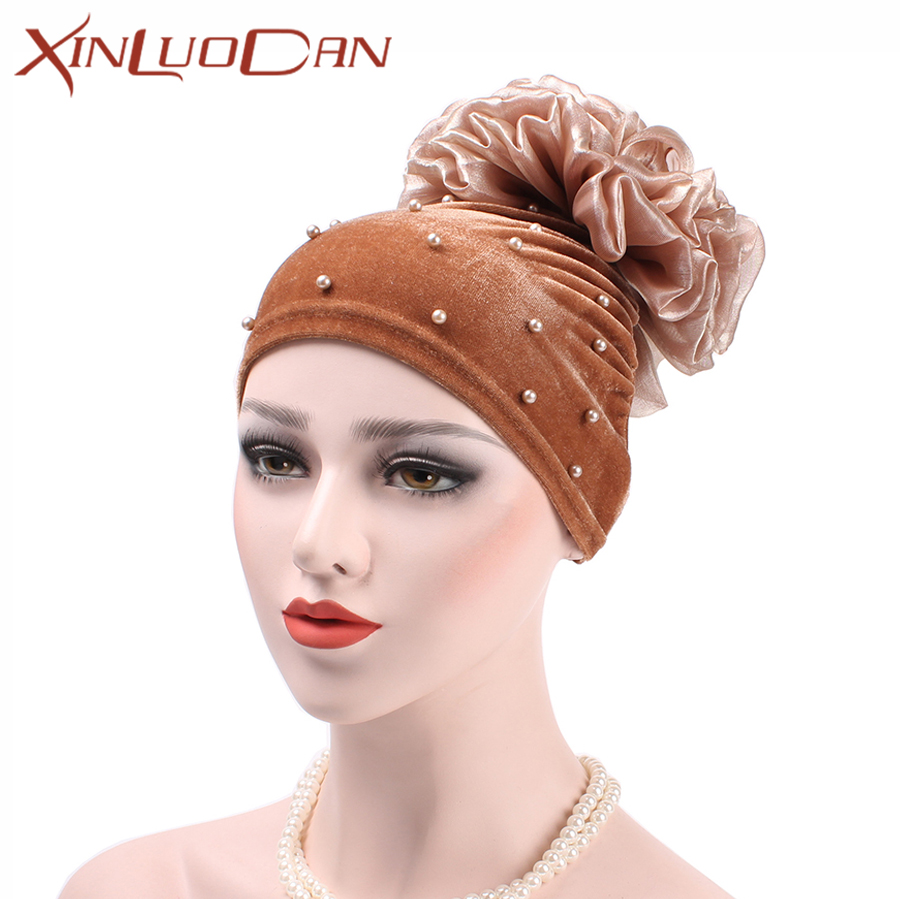 3d96c47a2fb Fashion Flower Pompon Turban Beanie Hat For Women Pearl Head Wrap Red  Turban Hat Wholesalers Velvet Winter Hats Muslim WH301